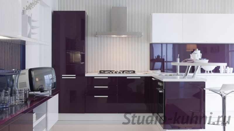 Кухня фиолетовая белая  № 1839176 без смс
